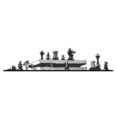 sketch of chess pieces and box vector image