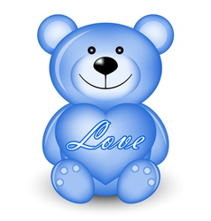 blue bear with heart vector image vector image
