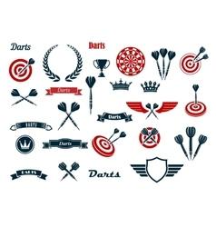Darts game ditems and heraldic elements vector image
