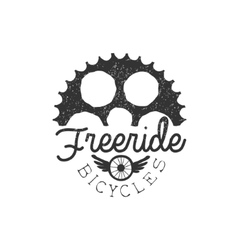 Freeride Vintage Label With Gear Silhouette vector image vector image