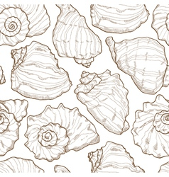 Hand drawing seashell seamless vector image