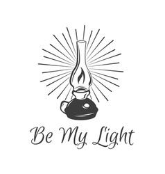 Kerosene lamp Vintage paraffin lamp Doodle style vector image