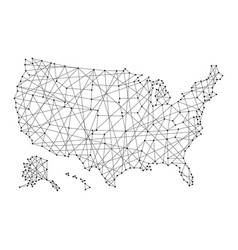 map of usa from polygonal black lines and dots vector image