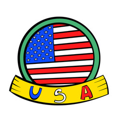 4th of july independence day badge icon cartoon vector