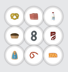Flat icon eating set of fizzy drink cookie vector