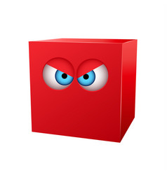 three-dimensional red cube with eyes vector image