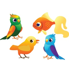 birds and fish set vector image vector image
