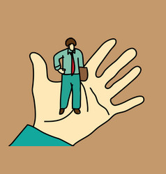 Business men standing on palm hand vector