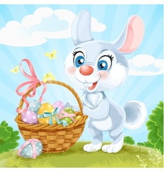 Easter Bunny with basket of eggs on the green lawn vector image vector image
