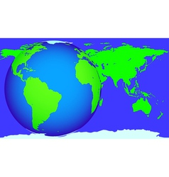 Globe and map vector image