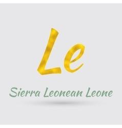 Golden Symbol of the Sierra Leonean Leone vector image vector image