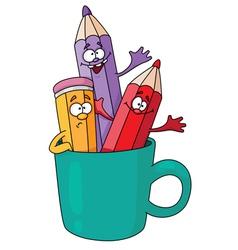 pencils in a mug vector image vector image