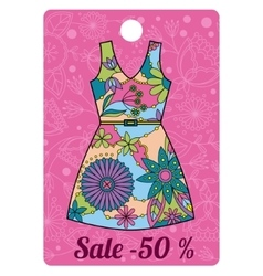 Sale label with dress colorful vector image vector image