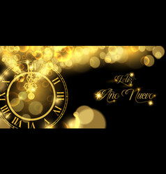 2019 new years eve gold clock banner in spanish vector