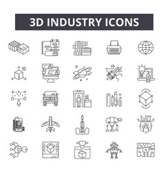 3d industry line icons editable stroke signs vector image