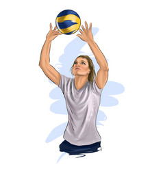 Abstract volleyball player jumping from splash vector