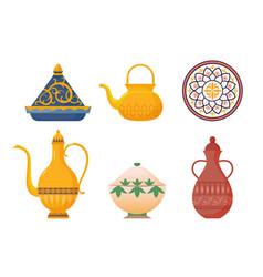 Arabic oriental dishes set antique yellow teapots vector