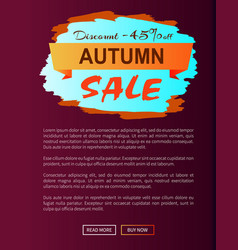 autumn discount -45 clearance with icon on poster vector image