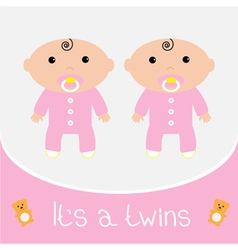 Baby shower card Its a twins girls vector