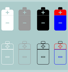 battery white grey black blue and red icon vector image