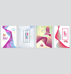 birthday greeting cards set includes lettering vector image
