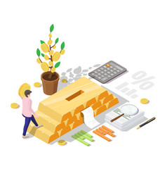 businessman investing in gold bars vector image