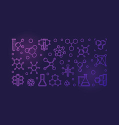 chemical outline colored banner - chemistry vector image