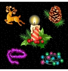 Christmas set for your design needs 5 items vector image
