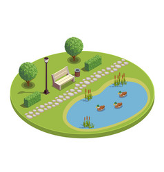 City park isometric round composition vector