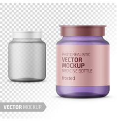 Clear glass medicine bottle template with label vector