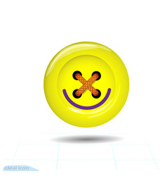 clothes button icon with a smile art and crafts vector image
