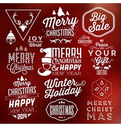 Collection of Typographic Christmas Design vector image