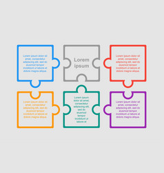 Colorful puzzle six pieces infographic six steps vector