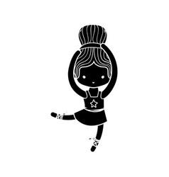 Contour ballerina pactice dancer with hair bun vector