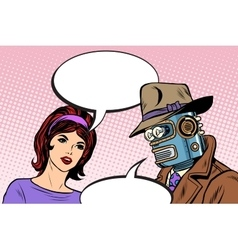 Couple man robot and beautiful woman vector