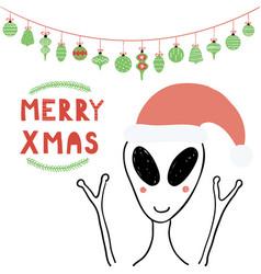 Cute alien christmas card vector