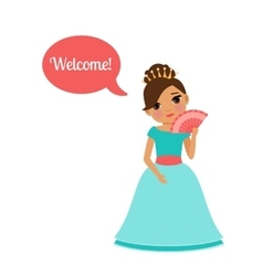 Cute cartoon princess with speech bubble vector image