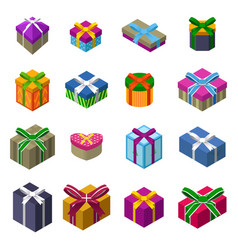 Different designs christmas present boxes vector