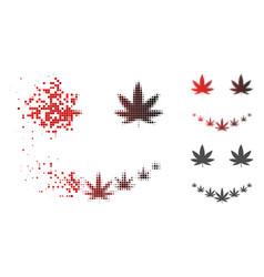 Dissolving pixelated halftone marihuana smile icon vector