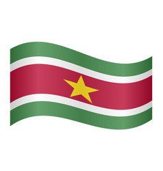 flag of suriname waving on white background vector image