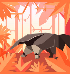 Flat geometric jungle background with anteater vector