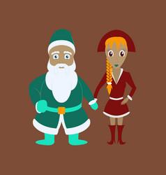Flat of santa claus and christmas girl vector