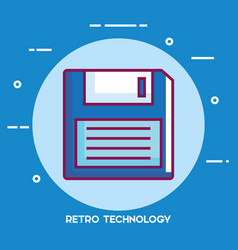 floppy disk retro technology icon vector image