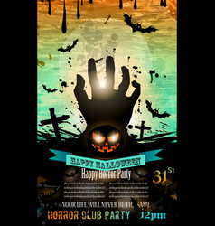 Halloween Party Flyer with creepy colorful vector
