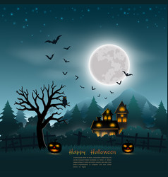 halloween poster on dark blue background vector image