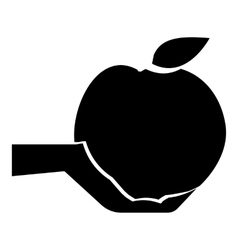 Hand holding apple icon simple style vector