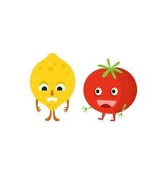Humanized Lemon And Tomato vector image