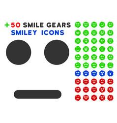 Indifferent smile icon with bonus avatar set vector