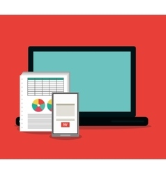 Invoice document and laptop design vector
