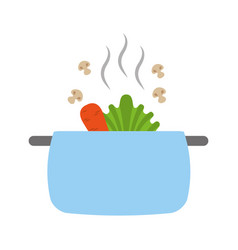 Kitchen pot with vegetables vector